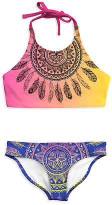 Emma & Elsa Girls' Bikini Bottoms - Yellow & Purple Mandala Halter Top & Bikini Bottoms - Girls