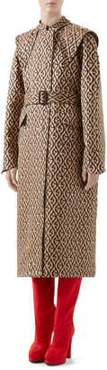 Gucci G Rhombus Jacquard Trench Coat with Exaggerated Shoulders