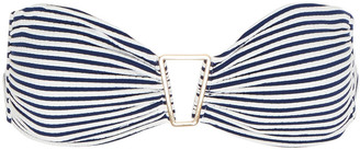 Melissa Odabash Barcelona Embellished Striped Stretch-pique Bandeau Bikini Top