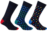 John Lewis Multi Spot Socks, Pack Of 3, Multi