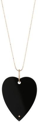 ginette_ny Jumbo Angele 18K Rose Gold & Onyx Heart Pendant Necklace