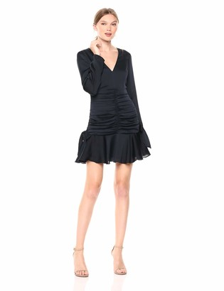 Keepsake Women's Oceans Long Sleeve V Neck Ruched Flounce Mini Dress
