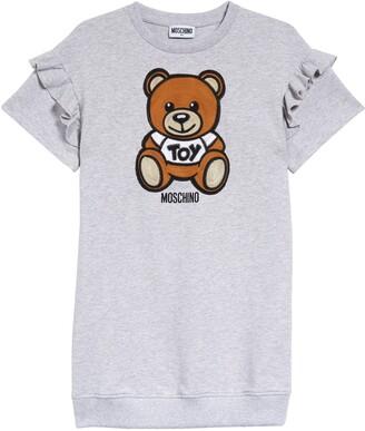 Moschino Kids' Teddy Bear Applique Sweatshirt Dress
