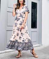 Reborn Collection Women's Maxi Dresses Light - Light Pink & Black Floral Ruffle-Hem Wrap Dress - Women & Plus