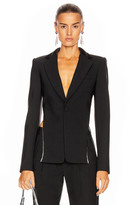 Area Crystal Trim Open Back Blazer in Black | FWRD