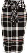 River Island Womens Black check print tie waist button skirt