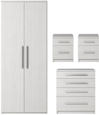 Prague 4-Piece Package - 2-Door Wardrobe, 4-Drawer Chest and 2 Bedside Cabinets