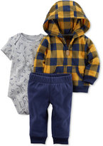 Carter's 3-Pc. Check Fleece Hoodie, Bodysuit & Pants Set, Baby Boys (0-24 months)