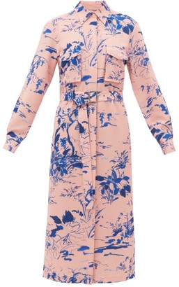 Sies Marjan Imogene Abstract-print Crepe Shirt Dress - Blue Print
