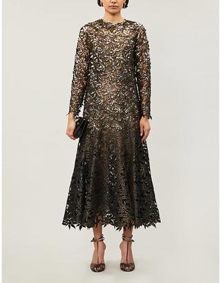 Oscar de la Renta Sequin-embellished flared woven gown