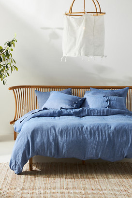 Anthropologie Harmony Hemp Duvet Cover By in Blue Size Q top/bed