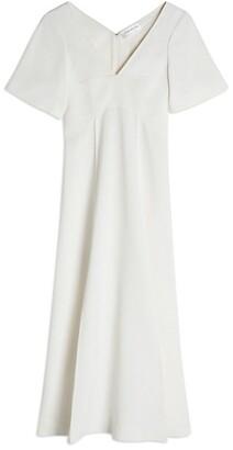 Victoria Beckham Short-Sleeve V-Neck Midi Dress