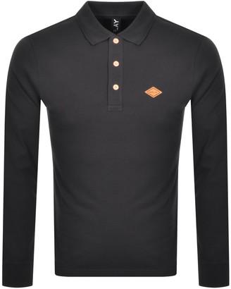 Replay Long Sleeved Logo Polo T Shirt Black