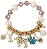 Betsey Johnson Gold-Tone Beaded Poodle Charm Bracelet