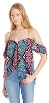 Nicole Miller Women's Mandala Silk Georgette Racerback Off-the-Shoulder Top