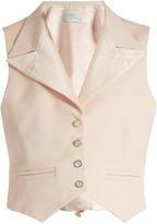 HILLIER BARTLEY Peak-lapel wool and silk-blend waistcoat