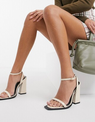 Raid Rogue square toe heeled sandals in bone