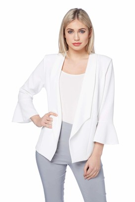 Roman Originals Women Fluted Detail 3/4 Sleeve Waterfall Open Front Jackets - Ladies Smart Short Tailored Blazer for Summer Casual Luxe Wedding Party - Ivory - Size 14