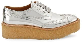 Prada Metallic Leather Platform Derby Shoes