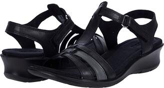 Ecco Finola Strap Sandal (Black/Dark Shadow Metallic Cow Nappa/Cow Nappa) Women's Shoes