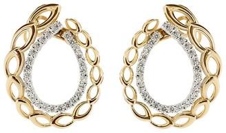 YEPREM 18kt Rose And White Gold Round Diamond Oval Earrings