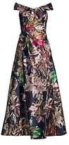Aidan Mattox Women's Bardot Off-The-Shoulder Floral Gown - Size 0