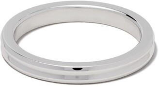Le Gramme 18kt white polished gold Horizontal Guilloche ring