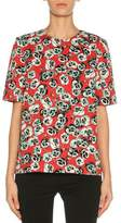 Marni Short-Sleeve Floral-Print Top, Red