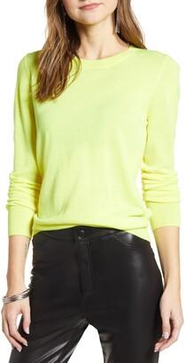 Halogen Crewneck Merino Wool Blend Sweater