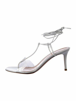 Gianvito Rossi Leather T-Strap Sandals White