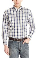 Wrangler Men's Wrinkle Resist Long Sleeve Western Off White/Blue/Khaki Shirt