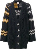 Nude zigzag knit cardigan - women - Acrylic/Polyester/Viscose/Alpaca - 40