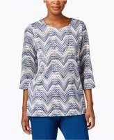 Alfred Dunner Arizona Sky Zig-Zag Top with Removable Necklace