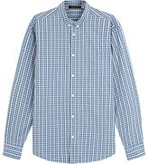 Jaeger Melange Check Shirt, Airforce Blue