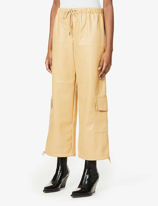 Frankie Shop Honey high-rise cargo faux-leather trousers