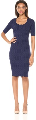 Milly Women's Laser Cut Pointelle Scalloped Short Sleeve Sheath Knit Dress