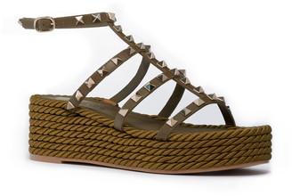 Valentino Torchon Rockstud Rope Platform Sandal