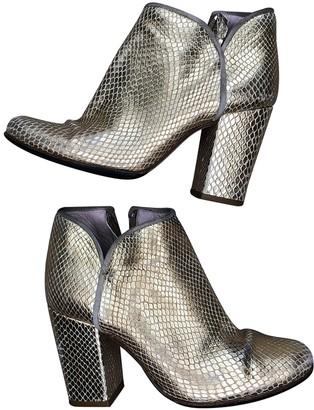 Opening Ceremony Gold Leather Ankle boots