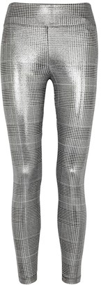 Koral Activewear Pearl grey checked metallic jersey leggings