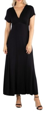 24seven Comfort Apparel Women's Cap Sleeve V-Neck Maxi Dress