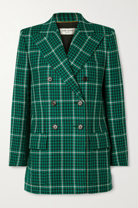 Saint Laurent Double-breasted Checked Wool Blazer - Green