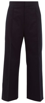 ODYSSEE Elm Cotton-blend Wide-leg Cropped Trousers - Navy