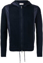 Moncler knitted contrast panel hoodie - men - Cotton/Polyamide - M