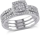 0.35ctw Diamond Engagement Ring and Wedding Band 10K White Gold 3-piece Set