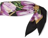 Dolce & Gabbana Tulip-print Silk Scarf - Purple