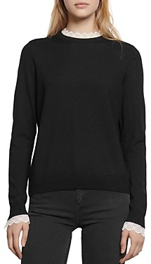 Sandro Vines Contrast Lace Trimmed Wool Sweater