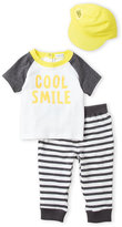 Absorba Newborn/Infant Boys) 3-Piece Cool Smile Tee & Pants Set