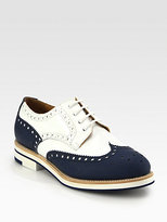 Leather & Patent Wingtip Brogue Lace-Up