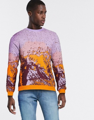 ASOS DESIGN knitted ombre yarn sweater in sunset design