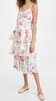 Marchesa Notte Printed Sleeveless Midi Dress